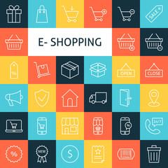 Vector Line Art Online Shopping Icons Set