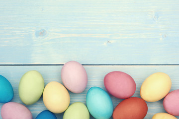 Colorful easter eggs at the lower section