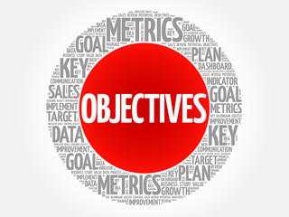 Objectives circle word cloud, business concept background