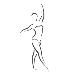 Sketched dancing woman isolated on white