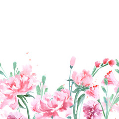 Floral Seamless Watercolor Border with peonies. Watercolor Vector Illustration.