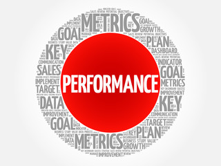 PERFORMANCE circle word cloud, business concept background