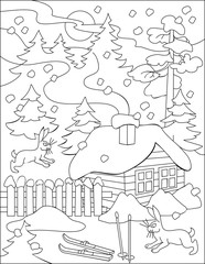 Page with black and white drawing of winter for coloring. Developing children skills for drawing.
