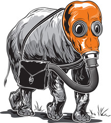 Strange elephant in an orange gas mask with a briefcase on its s