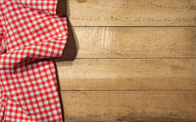 Checkered Tablecloth On Wooden Table / Rustic Wooden Table Partially  Covered With A Red And White