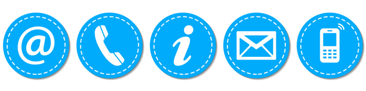 Contact Us – Round light blue buttons with dashed line
