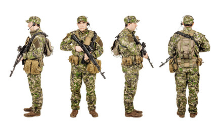military, profession, people and war concept - male soldier in c