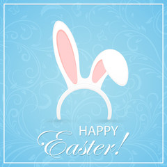 Blue Easter background with rabbit ears