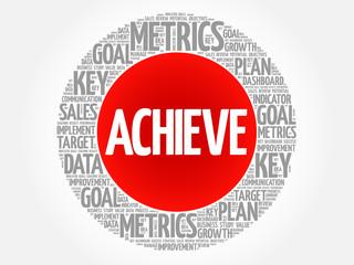 Achieve circle word cloud, business concept background