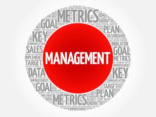 Management circle word cloud, business concept background
