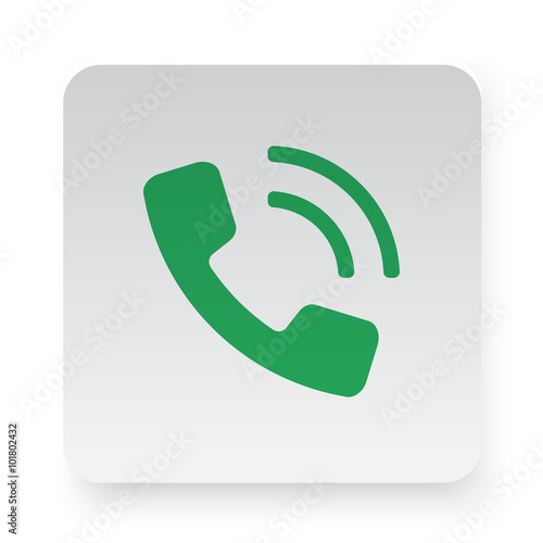 Green Phone icon in circle on white app button