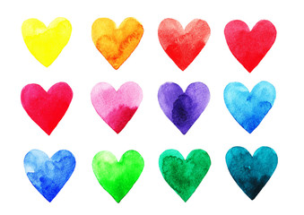 Watercolor rainbow hearts on white background