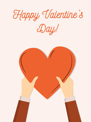 Happy Valentine's Day greeting card. Cute flat minimal illustration. Banner or flier with copy space fro donation or charity. Hands holding heart