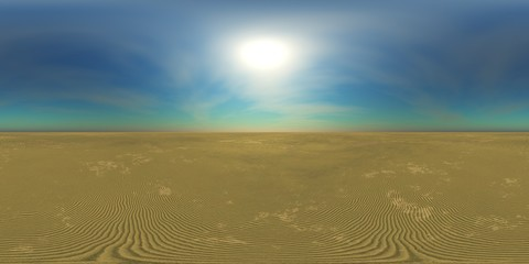 HDRI High resolution map, sun over the desert