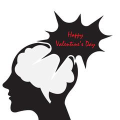 human brain think happy valentine