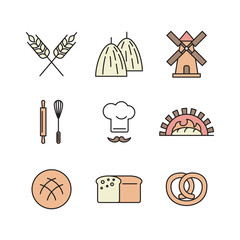 Line art flat design of color icons set for wheat factory or bakery with items of bread processing.