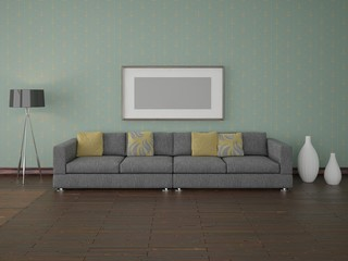 Contemporary modern sofa with lamp.