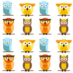 Seamless pattern of bright vector owls, who are sitting on a tree branch. Cute owls cartoon characters made in line art style.