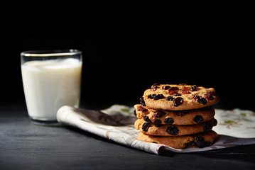 cookies with chocolate and glass of milk