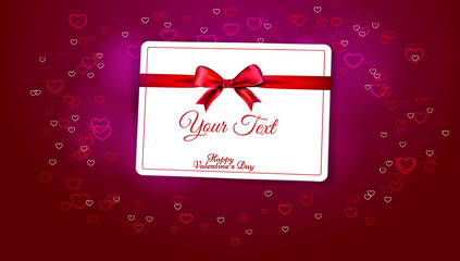 Greeting Valentine's Day with a red ribbon and a bow on a pink background and hearts