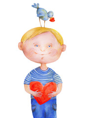 Boy with bird on head with heart. Watercolor and gouache Illustration
