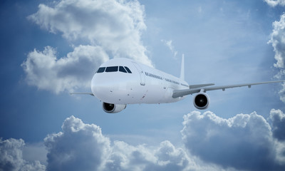 White plane flying in sky and clouds. Airplane airbus a321.