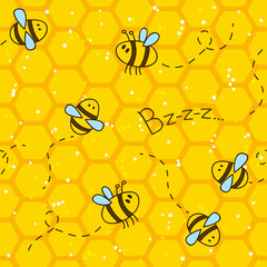 Seamless pattern with bees and honeycombs