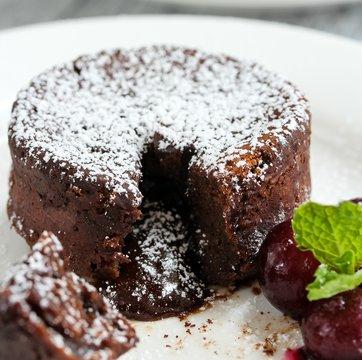 Chocolate Lava cake / Molten lava cake, selective focus