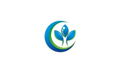 blue leaf organic business logo