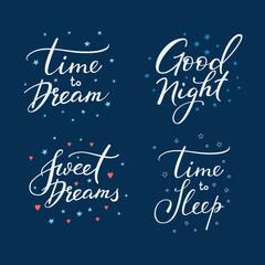 Good night lettering sign set.