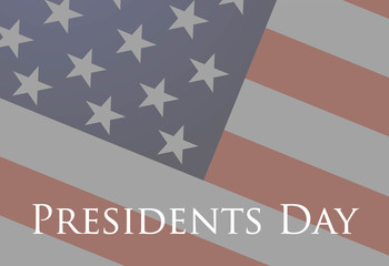 Presidents Day banner on the American Flag