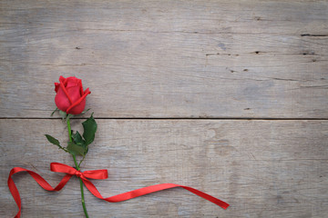 Valentines day background with red rose and ribbon on wooden.