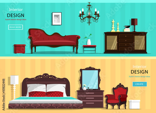 Set Of Colorful Vector Interior Design House Rooms With Furniture Icons Living Room Bedroom Kitchen And Home Office Flat Style Illustration