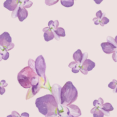 Watercolor seamless pattern of exotic flowers.