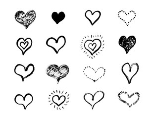 Heart shape set, hand drawn ink vector