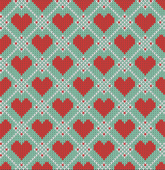 Seamless pattern on the theme of Valentine's Day with an image of the Norwegian patterns and hearts. Wool knitted texture