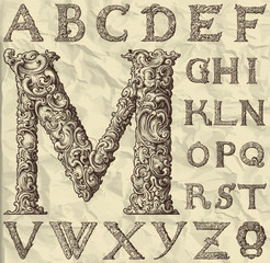 ornamental letter alphabet / vintage/ vector illustration