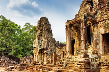 Wall Mural - One of entrances to ancient Bayon temple, Angkor Thom, Cambodia