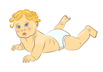 Cute baby in diaper isolated on white background. Hand drawn colorful vector illustration.