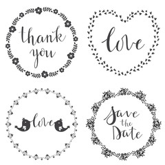 Set of decorative design graphic elements, frames, hand written text.Vector.