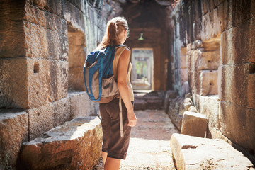 Tourist in the Preah Khan temple in Angkor, Cambodia