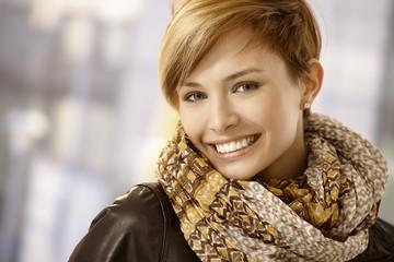 Beautiful woman wearing scarf