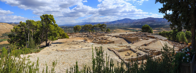 Panorama of ruins of the ancient Minoan Palace of Phaistos, Creete, Greece. The panoramic image has been stitched from multiple photos.