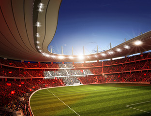 Wall Mural - Stadion Schweiz Seitenlinie farbiges Licht