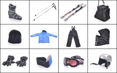 Ski equipment. Necessary things for skiing.