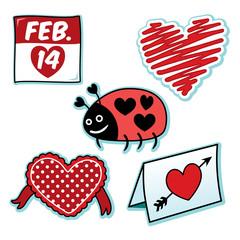 Valentines day love bug ladybug heart icon set