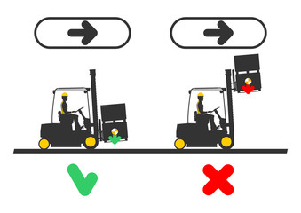 Dangers when working a forklift. Flat vector infographic on a white background.