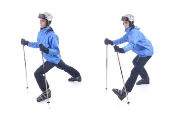 Skiier demonstrate warm up exercise for skiing. Dinamic stretch