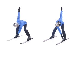 Skiier demonstrate warm up exercise for skiing. Windmill.