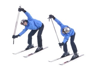 Skiier demonstrate warm up exercise for skiing. Bend forward and